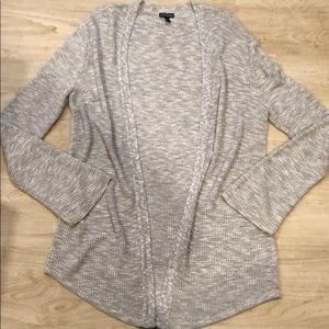 Heather Gray Knit Sweater, Open Front